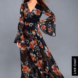 808e95a370d9 Lulu s Dresses - Black floral maxi dress